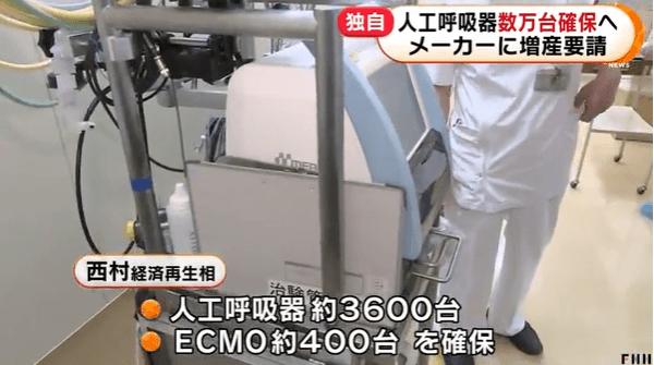 人工呼吸器数万台確保へ 経産省、メーカーに増産要請
